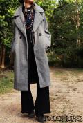 ゆったりロングウールコート【3カラー*グレー/メープル/ブラック】Lサイズ