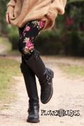 花柄♪スーパーストレッチ*レギンス【カラー*ブラック×ピンク】フリーサイズ