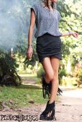 スーパーストレッチ★ドレープレイヤードデザイン  ミニスカート【3カラー*ブラック/グレー/ミルクティー】S-Mサイズ