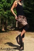 幾何学模様 光沢♪ウエストスナップボタン*ポケットポーチ付き★2way リバーシブルデザイン スカート【Lサイズ】