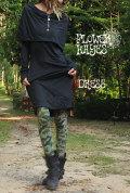ケープ風デザイン★カンガルーポケット ミディアムワンピース【カラー*ブラック】S Mサイズ