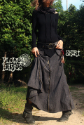 起毛素材♪立体ポケット*zipデザイン ロングスカート【2カラー*ブラック/グレー】フリーサイズ