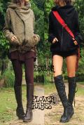 もこもこプードルニット★デザインハイネック♪斜めzipパーカージャケット【2カラー*オリーブ/ブラック】男女兼用! レディース M-Lサイズ  メンズ S-Mサイズ