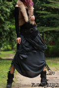 フリンジ×三つ編み♪ポイント絞りデザイン*変形ロングスカート【2カラー*ブラック/グレー】フリーサイズ