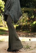 【FLOWER HAYES別注】デザインニット*スーパーストレッチ素材☆ベルボトムパンツ/フレアパ ンツ/ストレッチパンツ/ロングパンツ/ニットパンツ【3カラー*オリーブ/ブラウン/ブラック】S-M M-Lサイズ