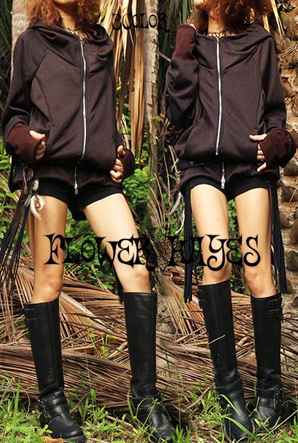 暖かコットンフリース*オルテガフード★アームホール♪ハイネックzipパーカージャケット【2カラー*ブラック/ブラウン】ユニセックス