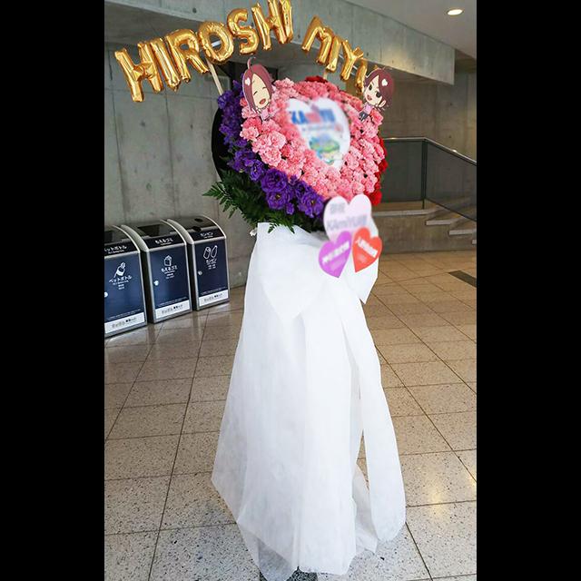 ピンク×紫縁取りハートスタンド花