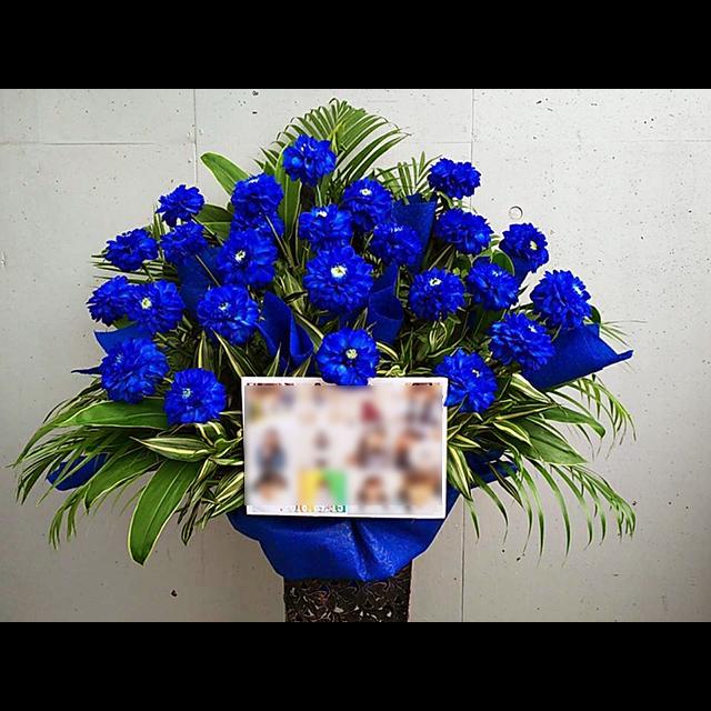 ブルー系アイアンスタンド花