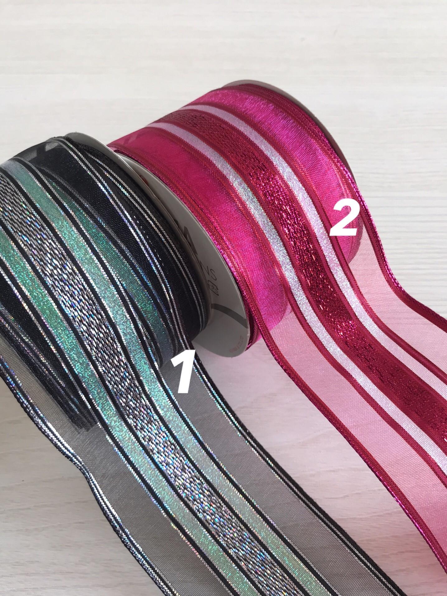 アルテミスリボン ローズ、ブラック ワイヤー入り 65mm巾 青山リボン たっぷり使える27m
