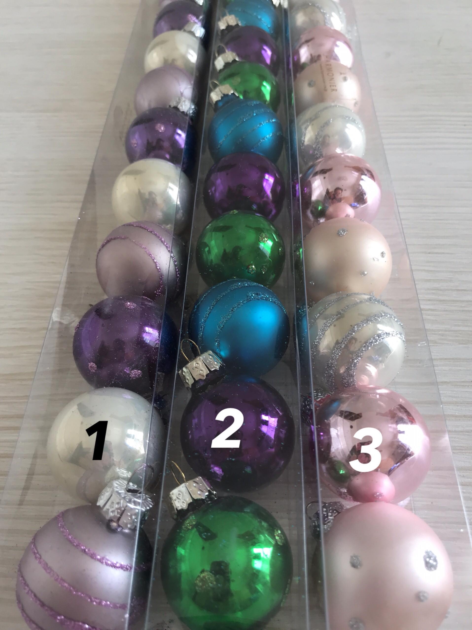 グラスボール アソートオーナメント 3cm×12個入り 選べる3カラー