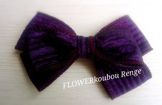 紫色バレッタ Grace グレース 上品な光沢と立体感のあるリボン