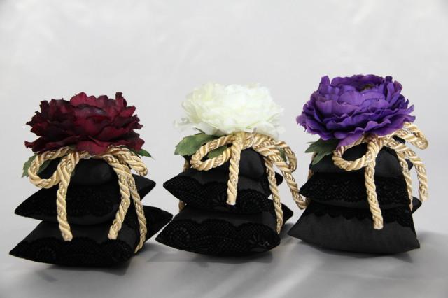 三段サシェ Noirノワールシリーズ 白・深紅・紫  ラナンキュラス ルームフレグランス用 摘みたての美味しい香りグレープフルーツの100%ピュアエッセンシャルオイル(5ml)付き!