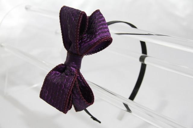ドイツ製リボンカチューシャ 紫色 Grace グレース  3段リボンで豪華!