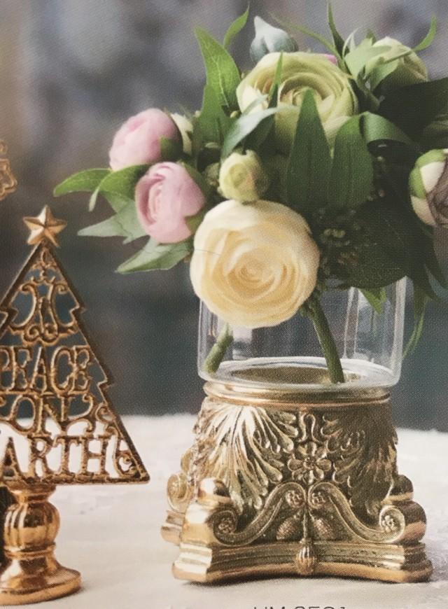 ゴールド台座ガラスベース キャンドル、花、木の実を入れて用途色々♬キャンディポットにもcandypot