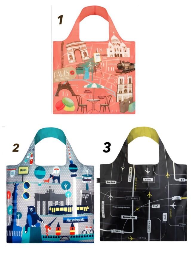 【宅急便コンパクト可】LOQIエコバッグ デザインと機能性◎Artist Collection◎ パリ柄・ベルリン柄・空港柄からお選びください!
