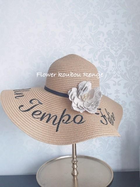 リゾートハット フェイクレザーのコサージュ付き! UV対策に抜群の女優帽