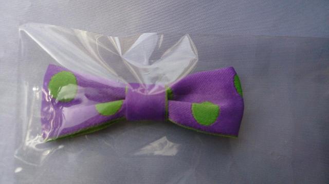 ダブルフェイスドットリボン・クリップ (前髪用・サイド用) Violett ball ヴァイオレットボール   の紫ベース