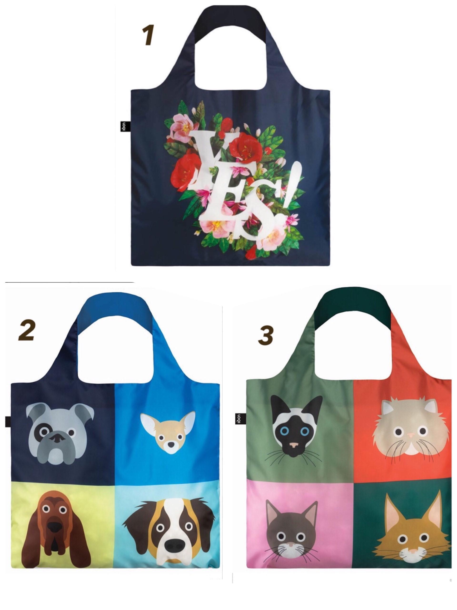 【宅急便コンパクト可】LOQIエコバッグ デザインと機能性◎Artist Collection◎  花柄・犬柄・猫柄からお選びください!