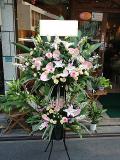 ピンク系のスタンド花2段ブラック【20S-20140408】