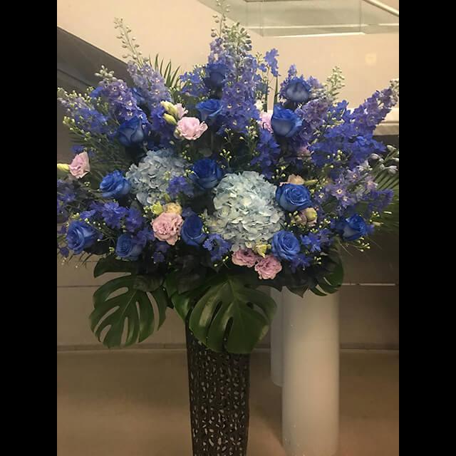 ブルー系メタルスタンド花