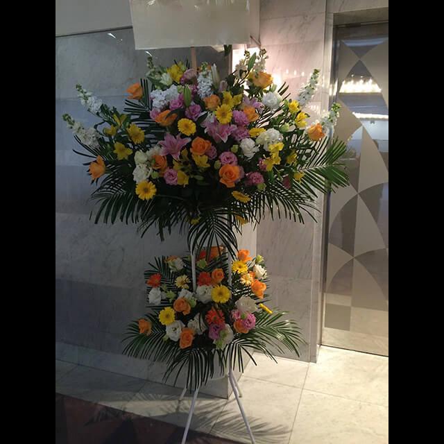 黄色オレンジ系スタンド花2段