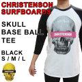 2018 CHRISTENSON SURFBOARDS クリステンソン Tシャツ SKULL BASEBALL TEE 七分袖 ベースボール サーフィン