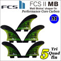 [店内ポイント最大20倍!!] [送料無料] FCS2 フィン Matt Biolos' MB Performance Core carbon TRI-QUAD[5FIN]GREEN[MEDIUM] マット・バイオロス LOST MAYHEM パフォーマンスコアカーボン