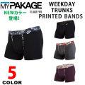 マイパッケージ WEEKDAY TRUNKS PRINTED BAND(ショート丈) MYPAKAGE ウィークデイトランクスプリントバンド 股下3.5インチ[9cm] メンズアンダーウェア ボクサーブリーフ ボクサーパンツ