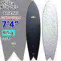 [5月下旬以降入荷予定] ソフトボード ウォーターランページ サーフボード サーフィン 2021年モデル WATER RAMPAGE BIG FISH 7'4 [BLK ABST] HARD BOTTOM QUAD FIN FCS2対応 クワッドフィン ファンボード ソフトサーフボード [送料無料]
