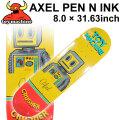 TOY MACHINE トイマシーン スケートボード デッキ AXEL PEN N INK (8.0× 31.63) [TM-4] スケートデッキ スケボー パーツ SK8 SKATE BOARD DECK