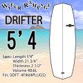 【送料無料】WATER RAMPAGE  ウォーターランページ サーフボード DRIFTER 5'4 WHITE ショートボード ソフトボード スポンジボード