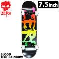 [follows特別価格] ZERO スケートボード コンプリート BLOOD TEXT RAINBOW KID'S [Z-6] ゼロ スケボー キッズ SK8 完成品 組み立て済み