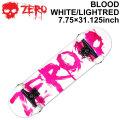 ZERO ゼロ スケートボード コンプリート BLOOD WHITE LIGHT RED 7.75インチ [Z-101] スケボー SK8 完成品 組み立て済み SKATE BOARD COMPLETE