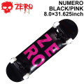 ZERO ゼロ スケートボード コンプリート NUMERO BLACK PINK 8.0インチ [Z-103] スケボー SK8 完成品 組み立て済み SKATE BOARD COMPLETE