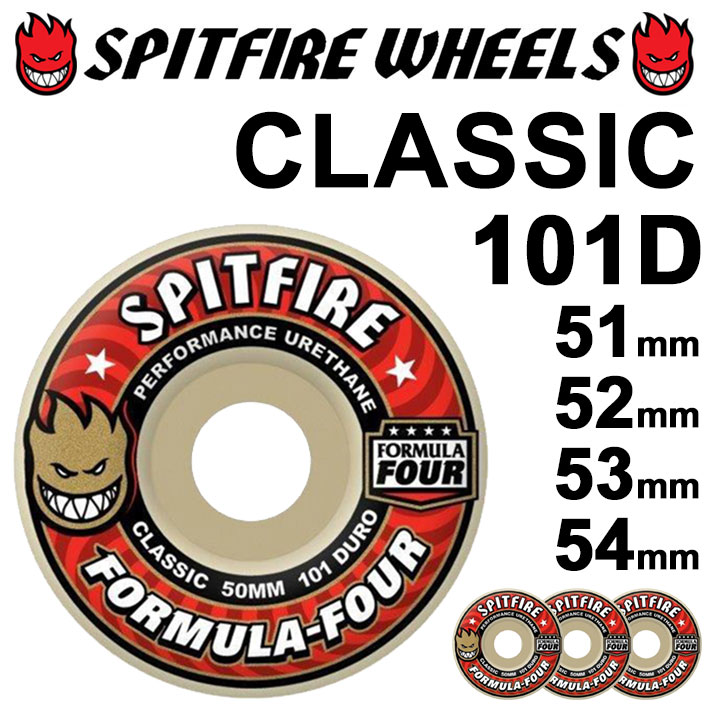 spitfire formula four スピットファイアー ウィール 101D CLASSIC [WHITE (RED)] spitfire wheel SKATE SK8 スケート