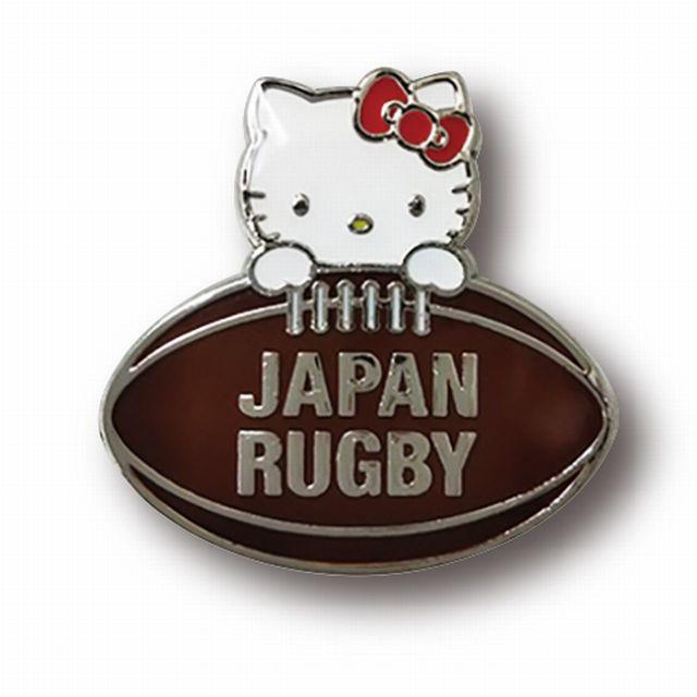 【ラグビー日本代表】ハローキティ ピンバッジ[ボール乗り]