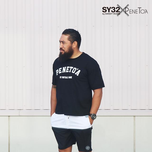 【50%OFF!】《ペネトア(PeneTO'A)》カレッジ風ダメージロゴTシャツ