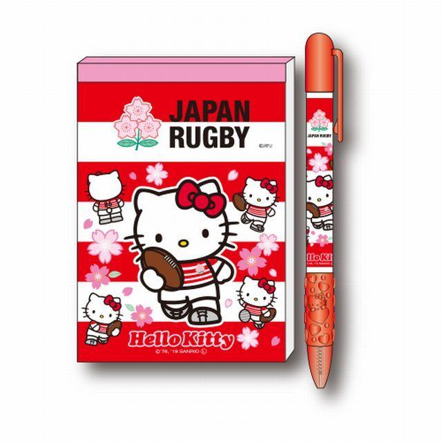 【ラグビー日本代表】ハローキティ ボールペンメモ帳セット