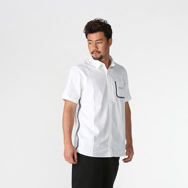 【50%OFF!】クール ライフシャツ《ペネトア(PeneTO'A)×SY32コラボ》 両脇、右胸ポケット周りにテープデザインのポイント
