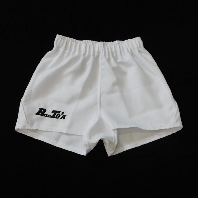 【PENETO'A】ロゴ入りジュニアラグビーショーツ(カラー:ブラック、ホワイト/サイズ:130~150)