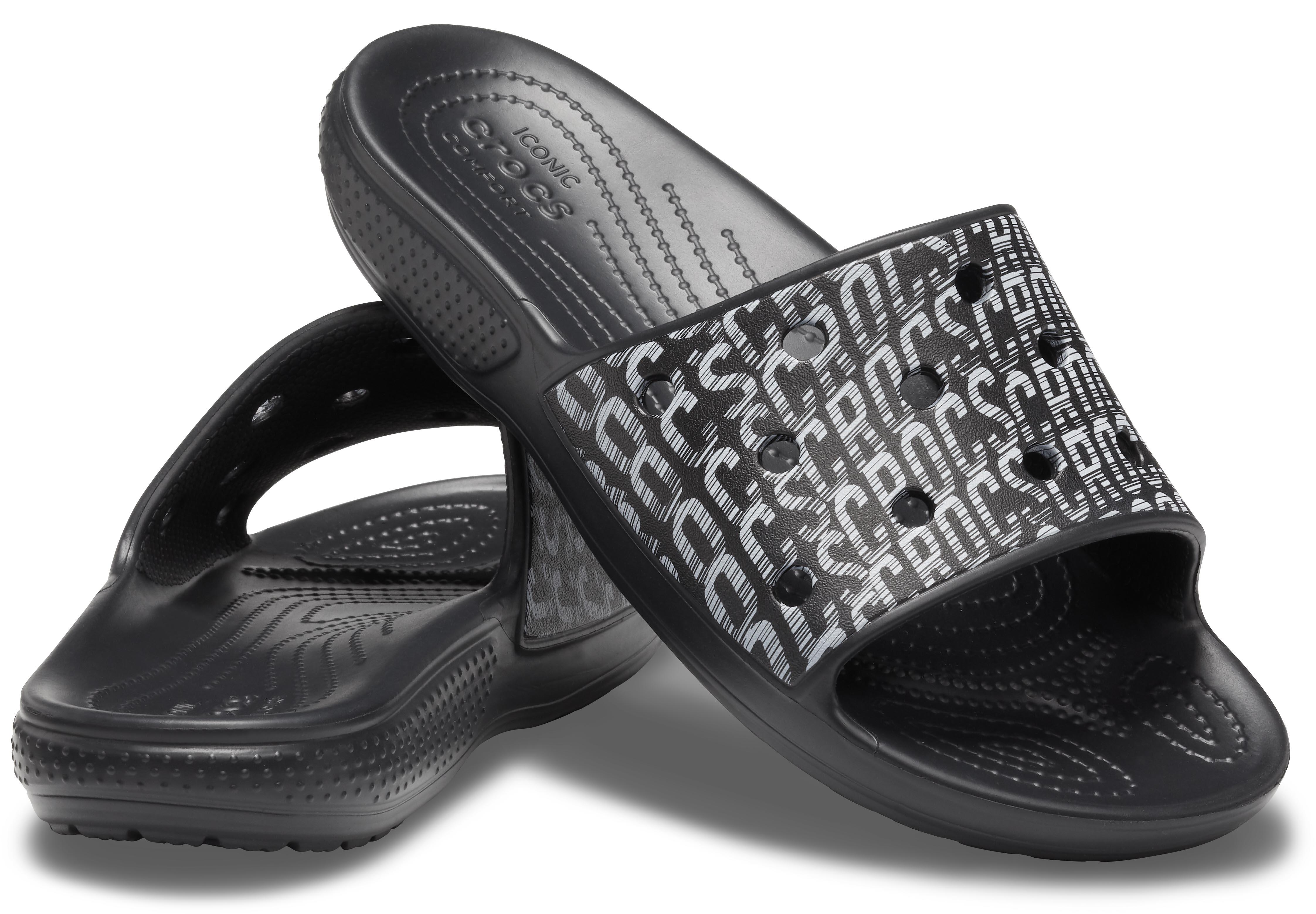 crocs classic crocs logo motion slide black/white クラシック クロックス ロゴ モーション スライド ブラック/ホワイト