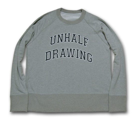 海千山千會 UNHALF DRAWING 【アンハーフ ドローイング】 UNHALF DRAWING COLLEGE LOGO SWEAT CREW