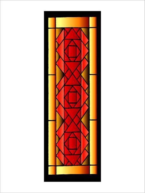 No.21 幾何学 ステンドグラスシール タイプC W150mm×H450mm