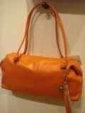 レザー筒形バッグ オレンジ