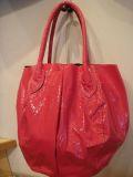 革エナメル丸型バッグ