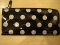 ドット柄エナメルL型長財布 ブラック