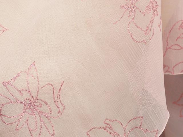 薄手ボイル花柄ラメプリント(ピンク)