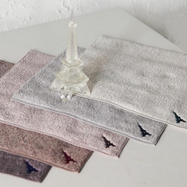 フランジュールのオリジナルタオル、エッフェル塔のミニハンカチ。ちょっとしたプレゼントに。上質なコットンです。
