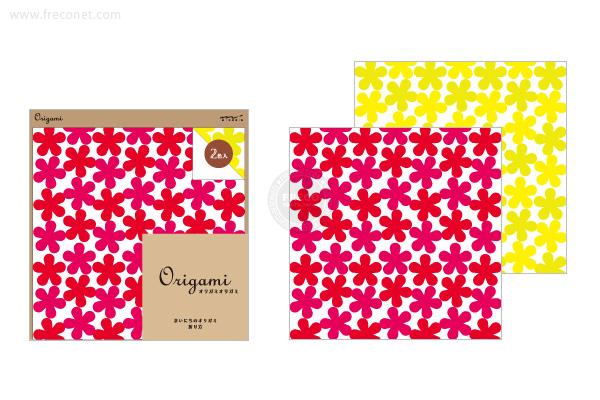 オリガミ <15角> 花柄 赤・黄(34391-006)【ネコポスOK】