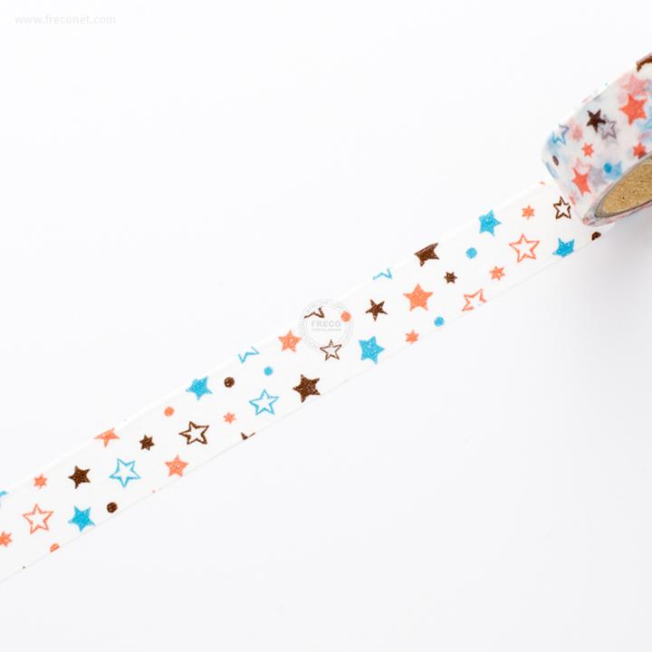 デザインマスキングテープ ネオンスター オレンジ&ブルー(36336)【ネコポスOK】